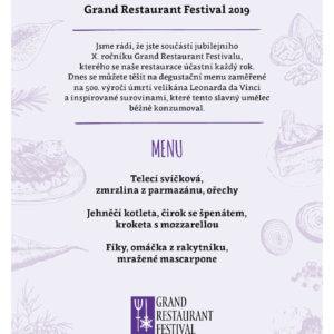 GRAND RESTAURANT FESTIVAL 2019 - MENU