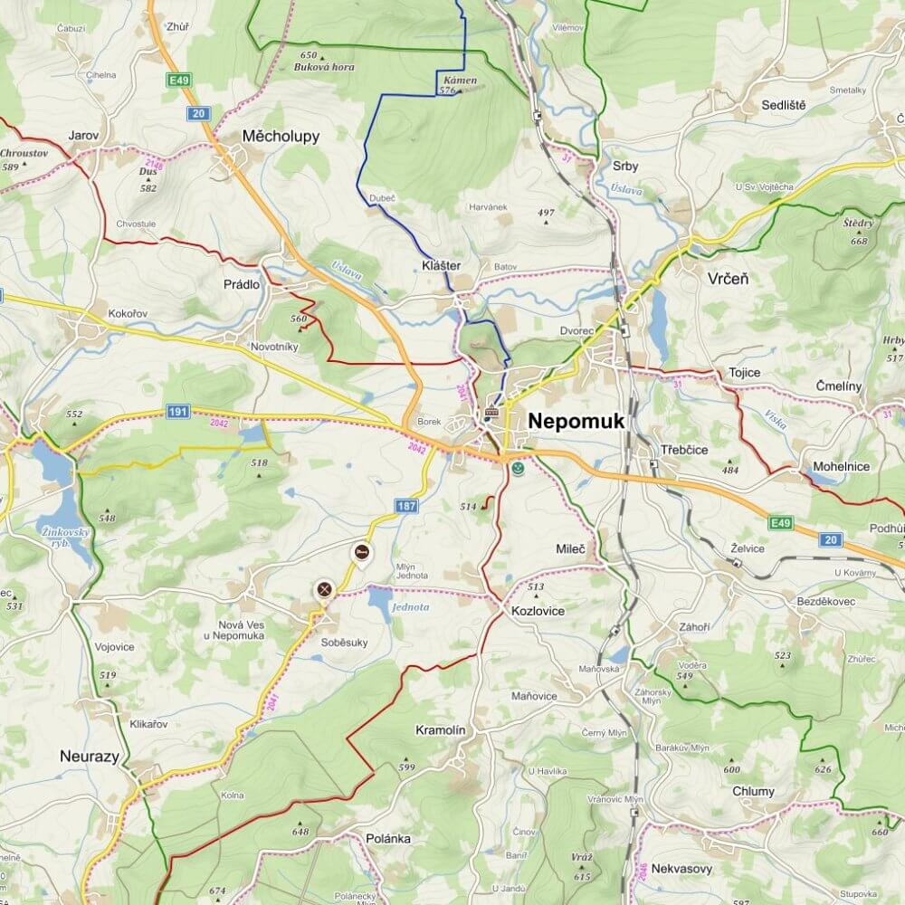 Mapa okolí Nepomuku