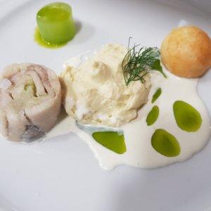 Pstruh s kyselou okurkou, koprová pěna, mazanec - Degustační večer s Honzou Horkým / 13.9.2019