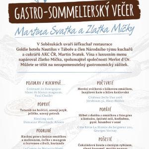 Pozvánka - Gastro-sommelierský večírek Martina Svatka & Zlatka Míčky